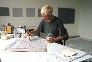 Rebecca Salter in her studio